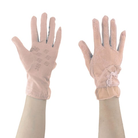 Adult Lady Outdoor Driving Lace Flower Decor Thin Sun Resistant Gloves Pink Pair