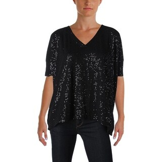 DKNY Womens Pullover Top Cotton Sequined