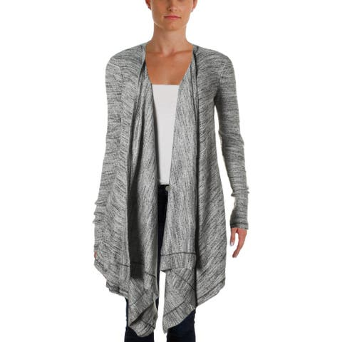 Three Dots Womens Cardigan Top Ribbed Knit Open Front