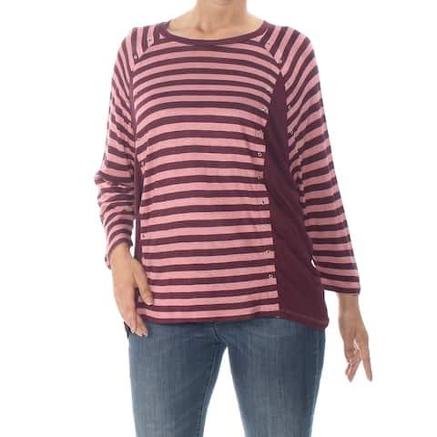 MICHAEL KORS Womens Pink Striped 3/4 Sleeve Jewel Neck Top Size XS