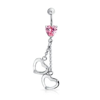 Bling Jewelry Red CZ Heart Handcuff Belly Ring Secret Shades 14G Steel