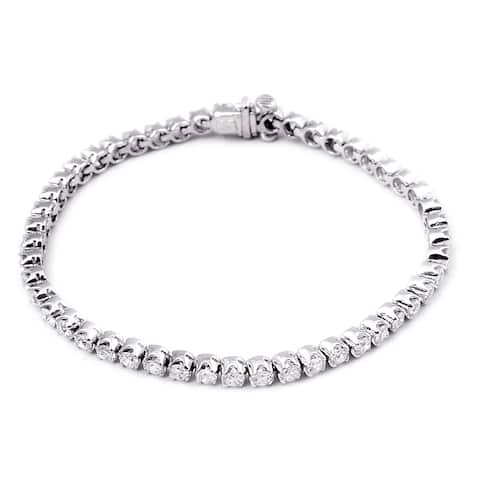 Cubic Zirconia Sterling Silver Round Tennis Bracelet by Orchid Jewelry