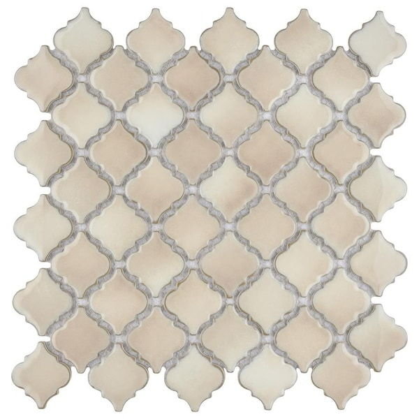 SomerTile 12.375x12.5-inch Antaeus Truffle Porcelain Mosaic Floor and Wall Tile. Opens flyout.
