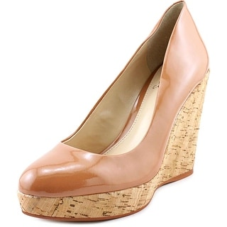 Vince Camuto Faran Women Open Toe Patent Leather Tan Wedge Heel
