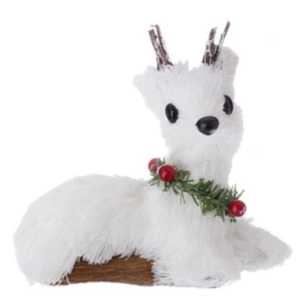 """4"""" Country Cabin White Laying Deer with Holly Berry Collar Christmas Ornament"""