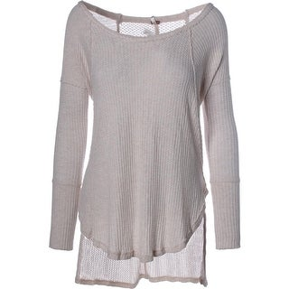 Free People Womens Ribbed Knit Tunic Pullover Top