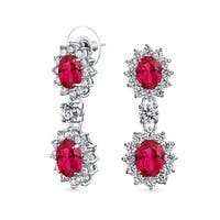 Round Crown Set Imitation Ruby Red Oval CZ Drop Dangle Earrings Rhodium Plated Brass