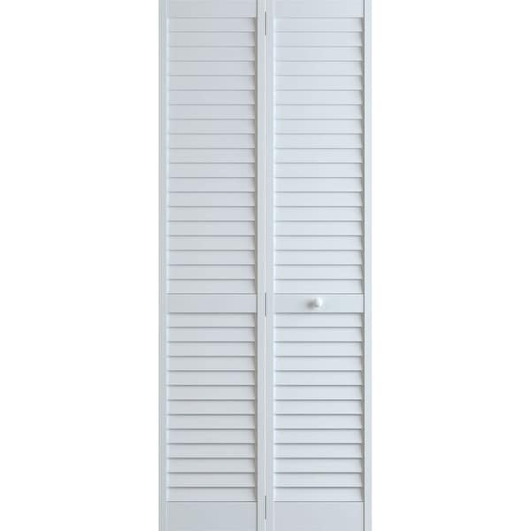 """Frameport PLA-BI-NL-8X3-H Plantation 36"""" by 96"""" Louver/Louver Interior Bifold Door with Installation Hardware - White"""