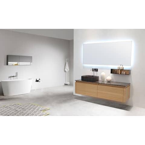 """OCALA 60"""" Maple Wall Mount Modern Bathroom Vanity Set (Left Sink)"""
