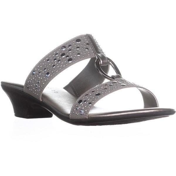 KS35 Anna Slip-on Kitten Heeled Sandals , Silver