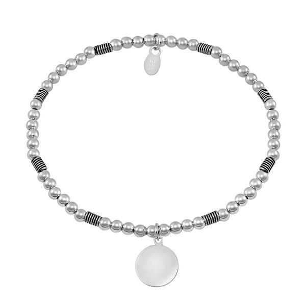Handmade Balinese Disc Symbol Elastic Bead Ball Sterling Silver Bracelet (Thailand). Opens flyout.