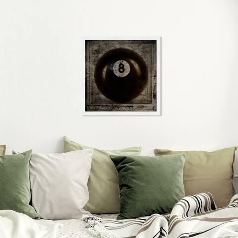 Oliver Gal 'Lucky 8' Framed Wall Art Prints Billiards - Black, Brown