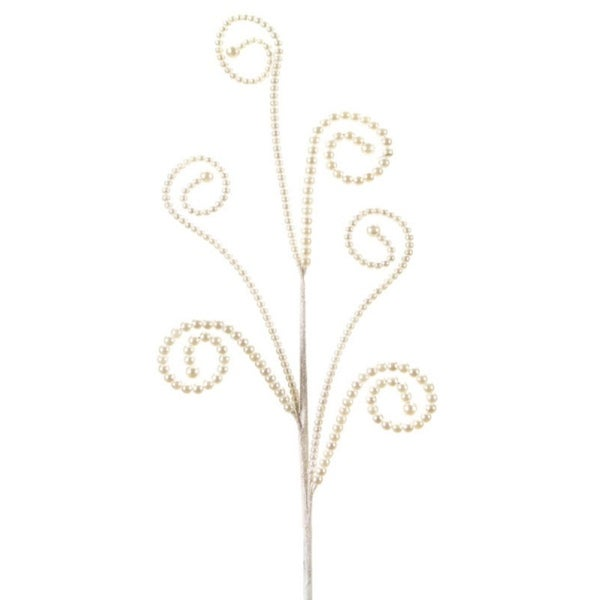"""Pack of 12 Dazzling White Pearl Colored Swirled Bead Artificial Decorative Christmas Sprays 26"""""""