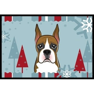 Carolines Treasures BB1719JMAT Winter Holiday Boxer Indoor & Outdoor Mat 24 x 36 in.