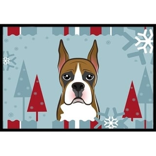 Carolines Treasures BB1719MAT Winter Holiday Boxer Indoor & Outdoor Mat 18 x 27 in.