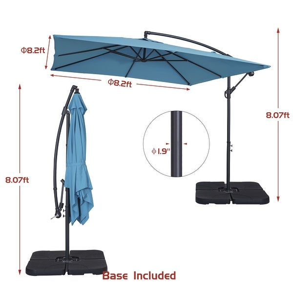 Bonosuki 8.2 x 8.2ft Patio Square Offset Umbrella with Base