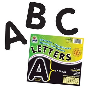 Pacon Self-Adhesive Reusable Letter, 4 in, Black, Pack of 78