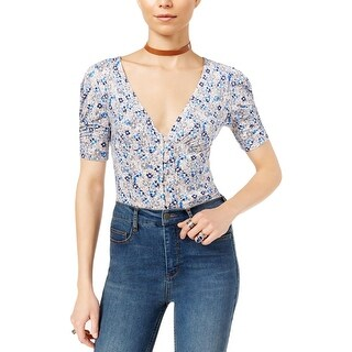 Free People Womens Button-Down Top Jersey Floral Print