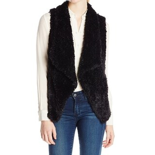 Calvin Klein NEW Black Womens Size Medium M Faux Fur Open Front Vest