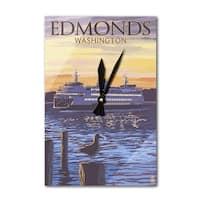 Edmonds, WA - Ferry Sunset & Gull - LP Artwork (Acrylic Wall Clock) - acrylic wall clock