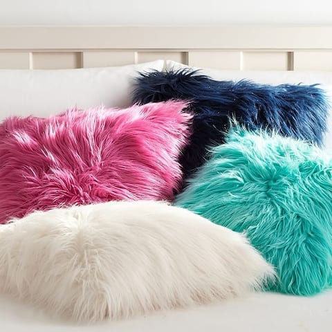 "HIGH-QUALITY Decorative New Luxury Series Merino Style Fur Throw Fuzzy Pillow Cover for Couch, Bedroom, Sofa 18"" x 18"""