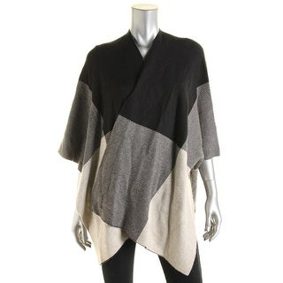 Sioni Womens Wool Blend Colorblock Poncho Sweater