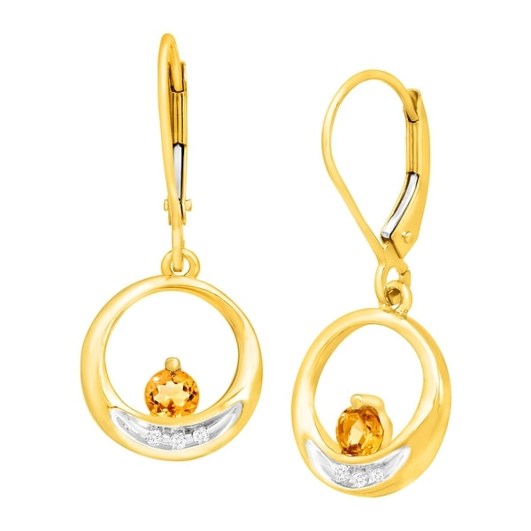 1/3 ct Citrine Drop Earrings with Diamonds in 10K Gold