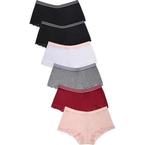 6 PAIRS Sofra Women's Intimate Sets Cotton Boyshort Style LP1662CB