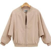 QZUnique Women Plus Size Zipper Jacket Sleeve Loose Pleated Short Coat