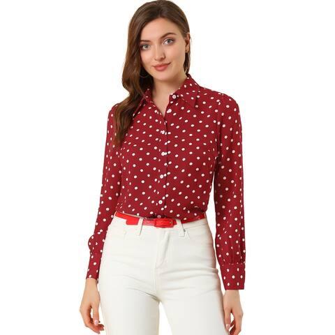 Women Polka Dots Button Down Vintage Puff Sleeve Blouse