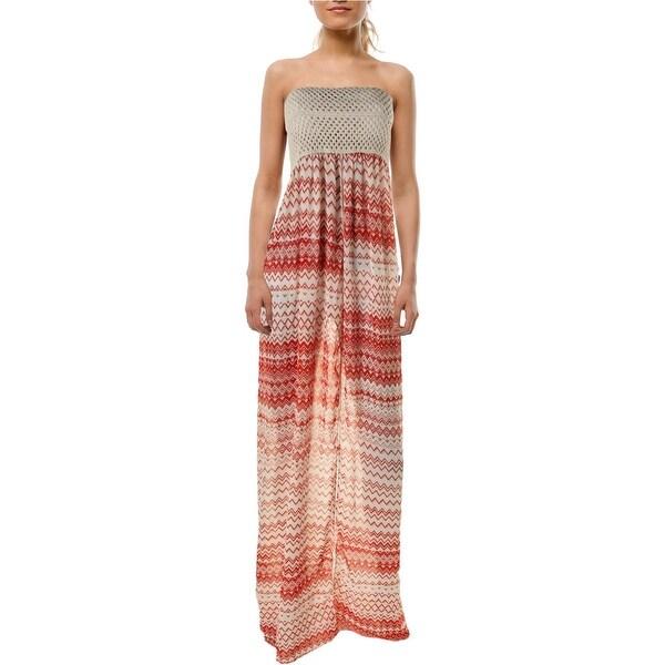 Elan Womens Maxi Strapless Dress Swim Cover-Up - o/s