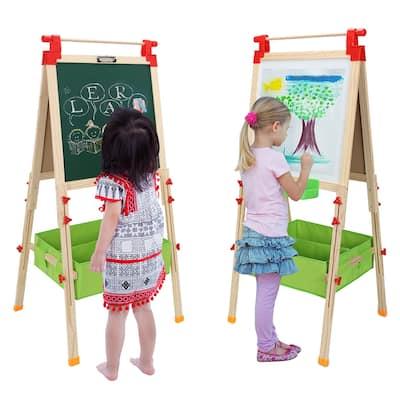 Art Easel for Kids, Adjustable Wooden White Board & Chalkboard - 28.15 x 22.44 x 3.15in