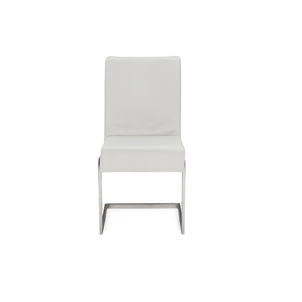 Shop Toulan White Faux Leather Upholstered Stainless Steel ...