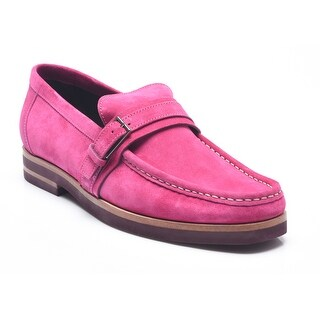 Bruno Magli Men's Leather Epory Suede Buckled Loafers Shoes Turquoise Pink