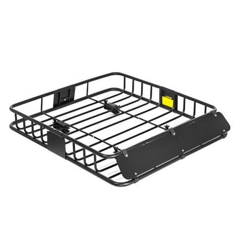 "44"" x 39"" x 6"" Cargo Roof Rack - Steel Luggage Carrier Travel Basket - Black"