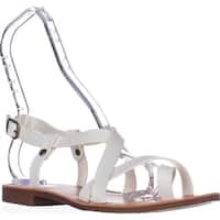 White Mountain Shoes Caela Toe Loop Sandals, White/Smooth