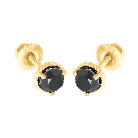 Prism Jewel 1/2 Ctw Round Cut Black Diamond Solitaire Stud Earrings