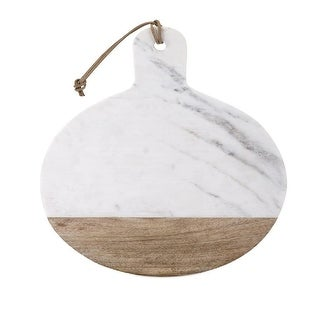 19Paddle shaped Marble and Wood Cheese Board