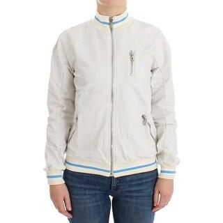 Galliano Galliano White Mock Zip Cardigan Sweatshirt Sweater