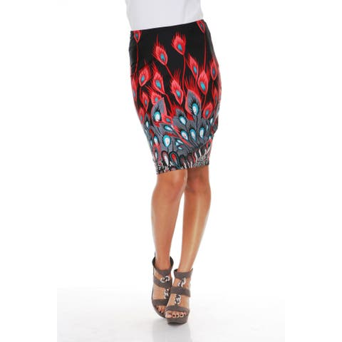 Feather Print Pencil Skirt - Red