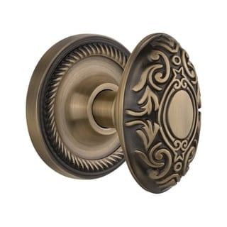 """Nostalgic Warehouse ROPVIC_PSG_238_NK Victorian Solid Brass Passage Knob Set with Rope Rose and 2-3/8"""" Backset"""