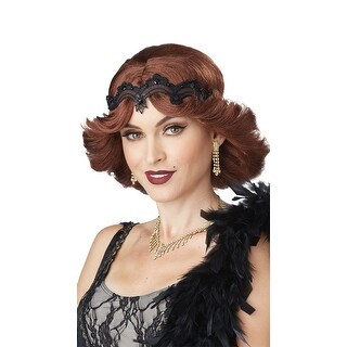 Brunette 20s Glitz And Glamour Wig, Brown Flapper Wig - One Size Fits most