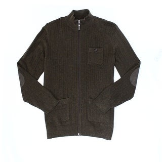 Tasso Elba NEW Brown Mens Size Large L Full Zip Ribbed Solid Sweater