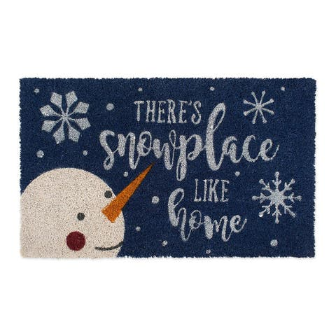 """18"""" x 30"""" Blue, White, and Orange Durable and Non-Slip Doormat with """"Snowplace Like Home"""" Design"""