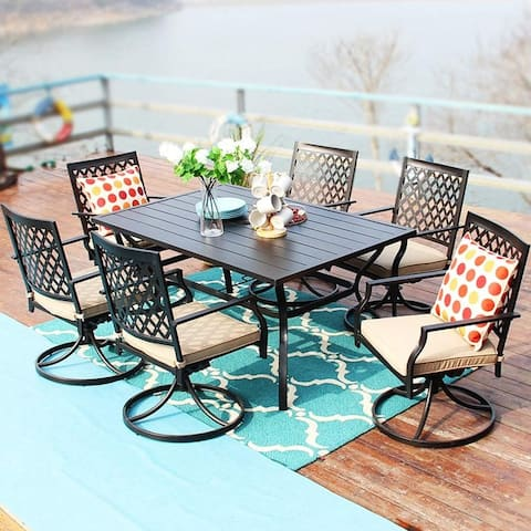 PHI VILLA Rectangle Metal Table and 6 Swivel Chairs with Cushion 7-Piece Metal Outdoor Patio Dining Sets