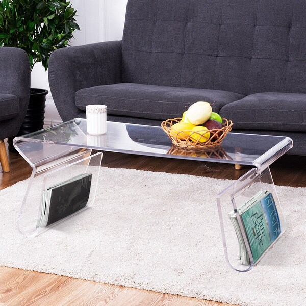 Superior Costway 38u0026#x27;u0026#x27; Clear Acrylic Coffee Table Cocktail Table With