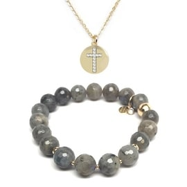 "Julieta Jewelry Set 10mm Grey Labradorite Sophia 7"" Stretch Bracelet & 15mm Heart Disc CZ Charm 16"" 14k Over .925 SS Necklace"