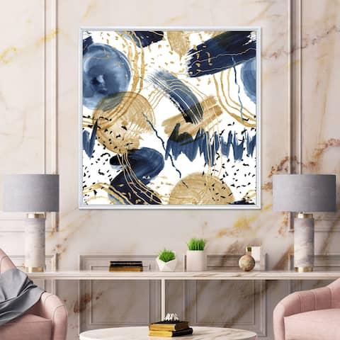 Designart 'Abstract Pattern With Dark Blue & Golden Textures' Modern Framed Canvas Wall Art Print