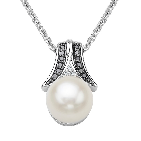 Freshwater Pearl Pendant with Black & White Diamonds in Sterling Silver