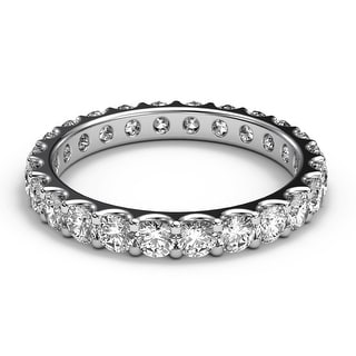 Amcor Design 14KT White Gold 1.40 CT Round Cut Shared Prong Diamond Stack-able Eternity Anniversary Wedding Ring